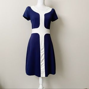 Boden Navy and White Mod Style Shift Dress